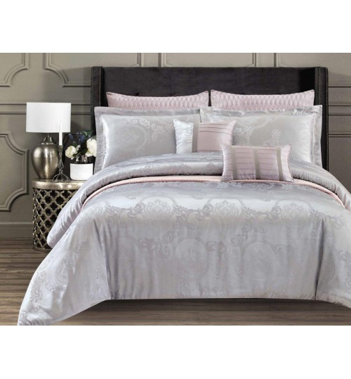 Chester London Silky Jaquard 7pcs Comforter Set Manju Grey (Queen Size)