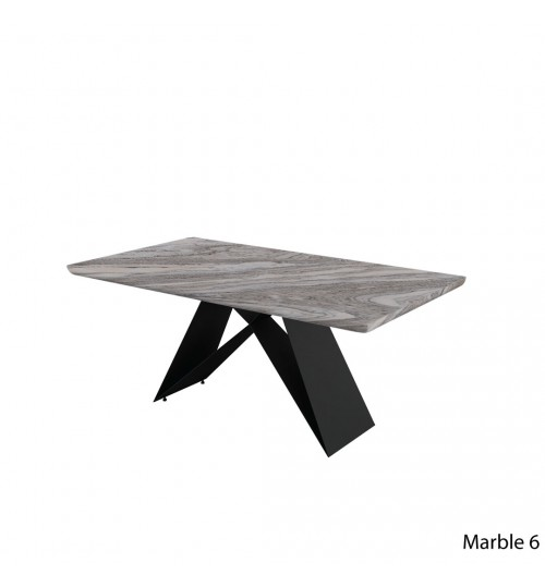 Rectangle Marble Table with A Metal Leg ( 180cm ) (Half Moon)