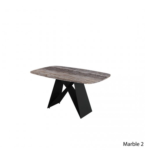 Rectangle Marble Table with A Metal Leg ( 150cm ) (Curve)