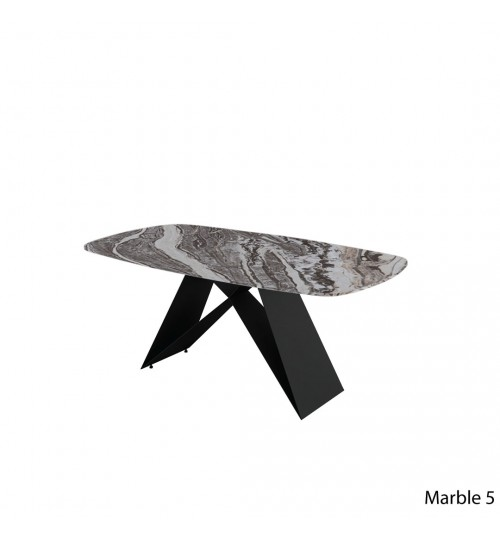 Rectangle Marble Table with A Metal Leg ( 180cm ) (Curve)