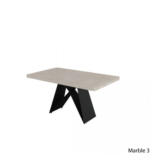 Rectangle Marble Table with A Metal Leg ( 150cm ) (Thick)