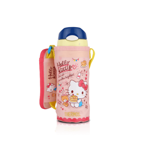 Thermos 0.4L FHL-401KT Hello Kitty Ultra Light Straw Bottle with Pouch